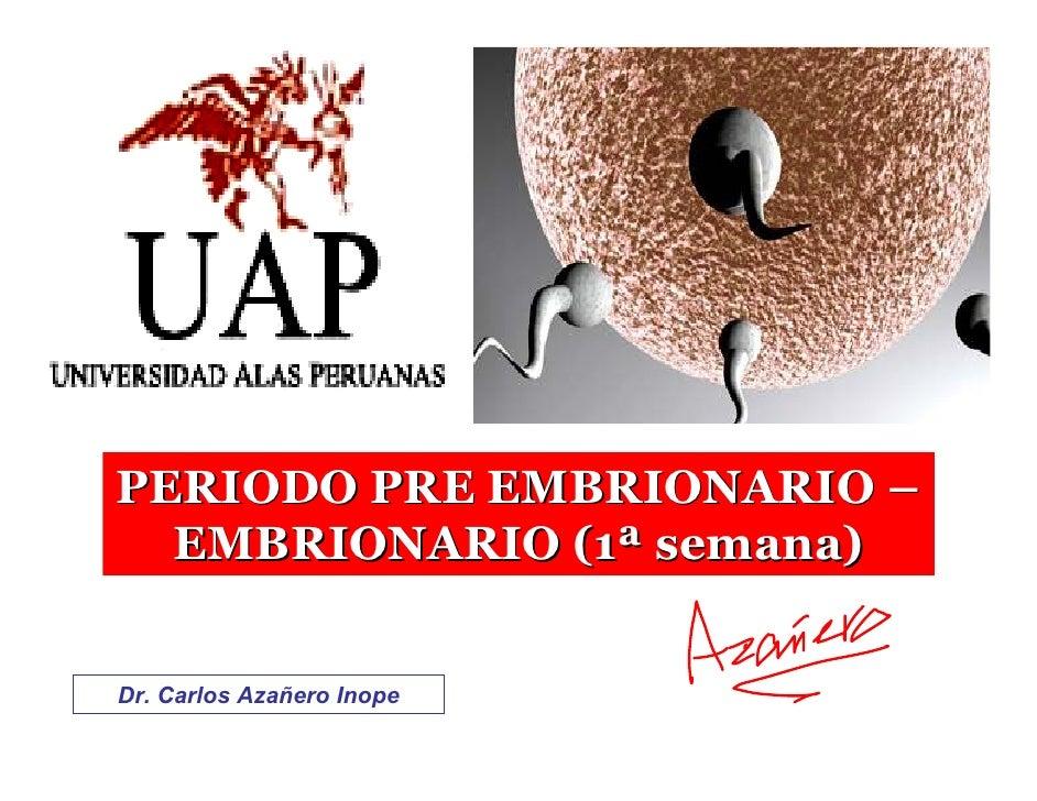 PERIODO PRE EMBRIONARIO –   EMBRIONARIO (1ª semana)   Dr. Carlos Azañero Inope
