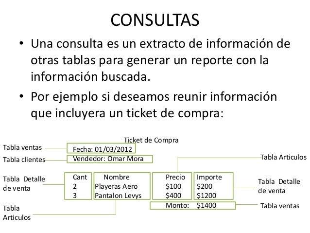 CONSULTAS     • Una consulta es un extracto de información de       otras tablas para generar un reporte con la       info...