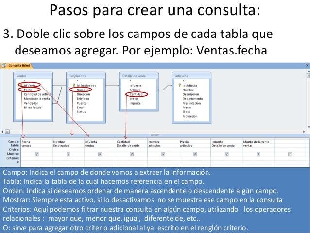 Pasos para crear una consulta:3. Doble clic sobre los campos de cada tabla que  deseamos agregar. Por ejemplo: Ventas.fech...