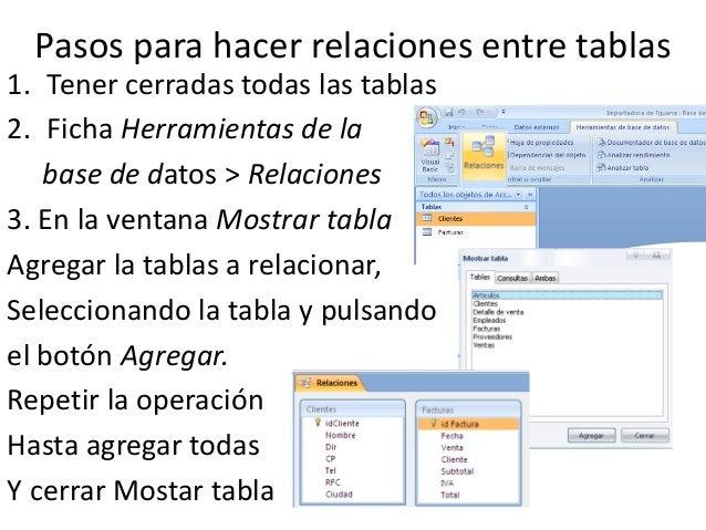 Pasos para hacer relaciones entre tablas1. Tener cerradas todas las tablas2. Ficha Herramientas de la   base de datos > Re...