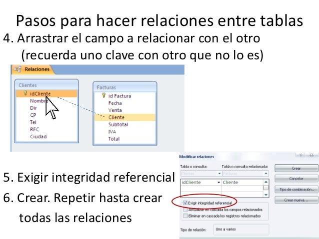 Pasos para hacer relaciones entre tablas4. Arrastrar el campo a relacionar con el otro   (recuerda uno clave con otro que ...