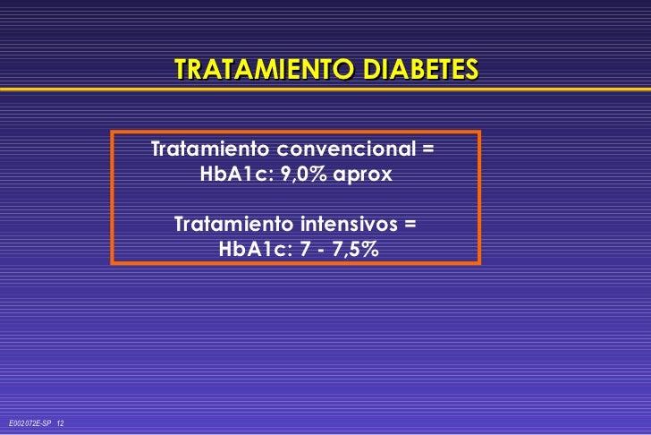 TRATAMIENTO DIABETES Tratamiento convencional =  HbA1c: 9,0% aprox Tratamiento intensivos = HbA1c: 7 - 7,5%