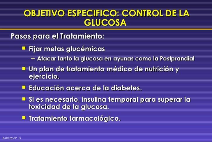 OBJETIVO ESPECIFICO: CONTROL DE LA GLUCOSA   <ul><li>Fijar metas glucémicas </li></ul><ul><ul><li>Atacar tanto la glucosa ...