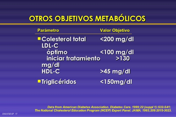 <ul><li>Parámetro Valor Objetivo </li></ul><ul><li>Colesterol total  <200 mg/dl LDL-C   óptimo <100 mg/dl   iniciar tratam...