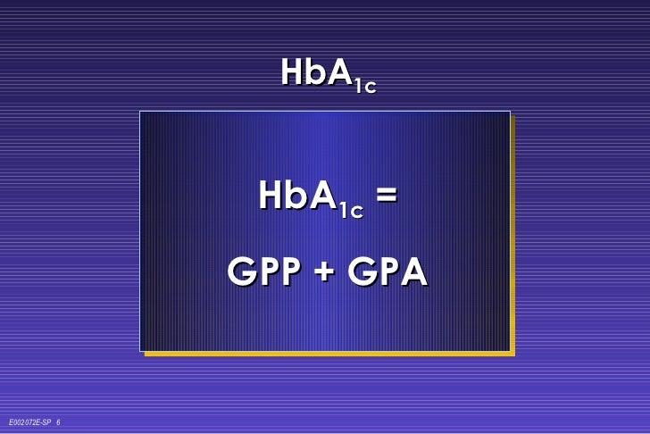 HbA 1c HbA 1c  = GPP + GPA E002072E-SP