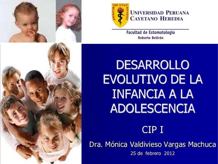 DESARROLLO   EVOLUTIVO DE LA    INFANCIA A LA    ADOLESCENCIA                CIP IDra. Mónica Valdivieso Vargas Machuca   ...