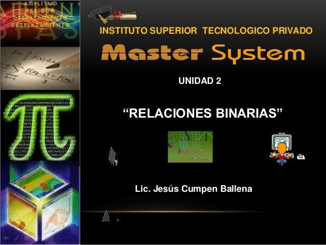 """UNIDAD 2 ÁLGEBRA """"RELACIONES BINARIAS"""" Lic. Jesús Cumpen Ballena INSTITUTO SUPERIOR TECNOLOGICO PRIVADO"""