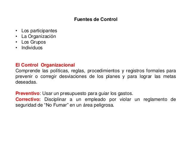 Fuentes de Control  • Los participantes  • La Organización  • Los Grupos  • Individuos  El Control Organizacional  Compren...