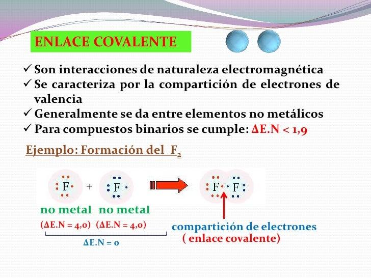 ENLACE COVALENTE Son interacciones de naturaleza electromagnética Se caracteriza por la compartición de electrones de  v...
