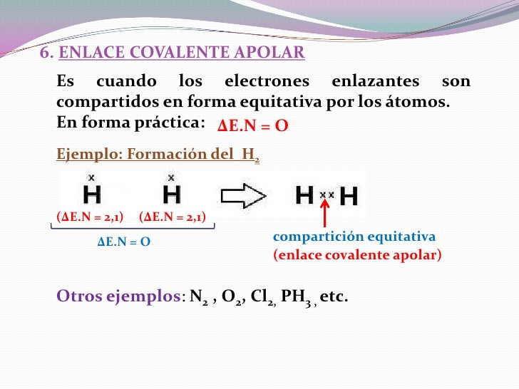 6. ENLACE COVALENTE APOLAR Es cuando los electrones enlazantes son compartidos en forma equitativa por los átomos. En form...