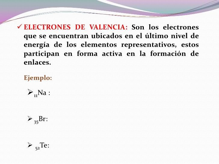 ELECTRONES DE VALENCIA: Son los electrones  que se encuentran ubicados en el último nivel de  energía de los elementos r...