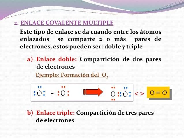 Ejemplo: Formación del N2 3. ENLACE COVALENTE NORMAL Este tipo de enlace se da cuando cada átomo aporta igual cantidad de ...