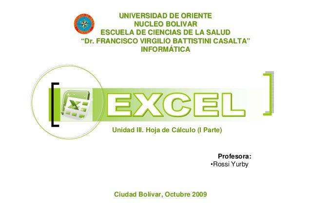 """UNIVERSIDAD DE ORIENTE              NUCLEO BOLIVAR      ESCUELA DE CIENCIAS DE LA SALUD""""Dr. FRANCISCO VIRGILIO BATTISTINI ..."""