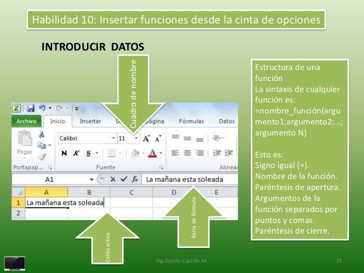 Habilidad 10: Insertar funciones desde la cinta de opciones INTRODUCIR DATOS                             Cuadro de nombre ...