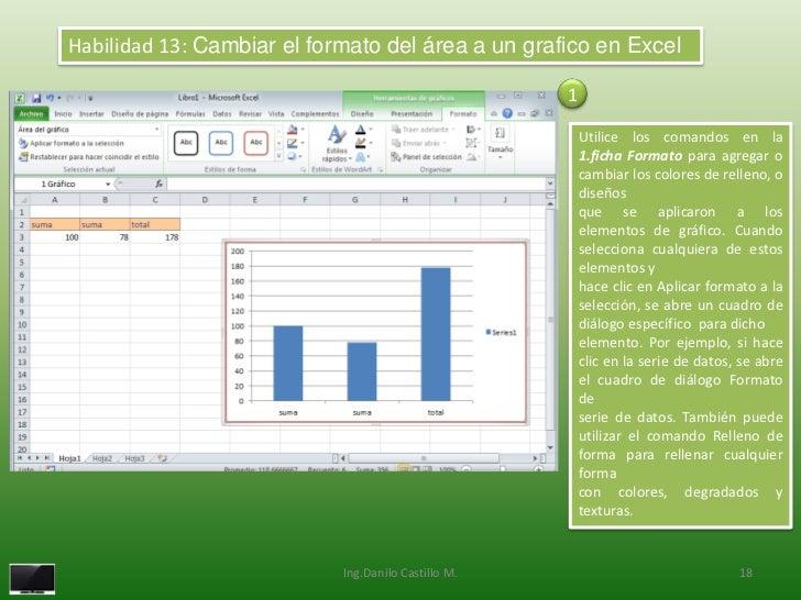 Habilidad 13: Cambiar el formato del área a un grafico en Excel                                                     1     ...