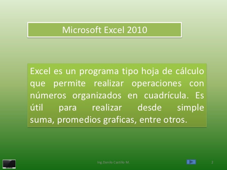 Microsoft Excel 2010Excel es un programa tipo hoja de cálculoque permite realizar operaciones connúmeros organizados en cu...
