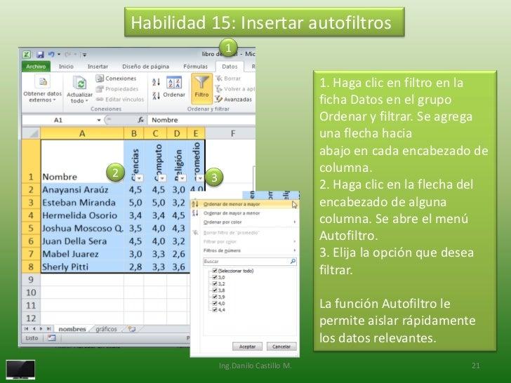 Habilidad 15: Insertar autofiltros                   1                                           1. Haga clic en filtro en...