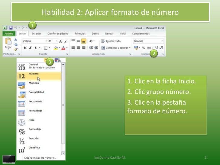 Habilidad 2: Aplicar formato de número1                                                    2     3                        ...
