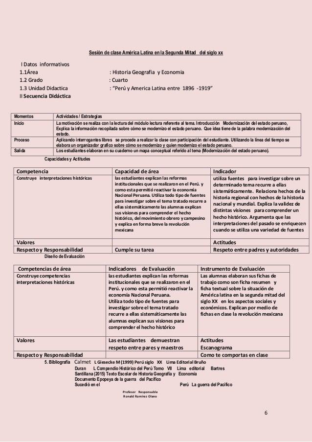 6 Sesión de clase América Latina en la Segunda Mitad del siglo xx Capacidades y Actitudes Competencia Capacidad de área In...