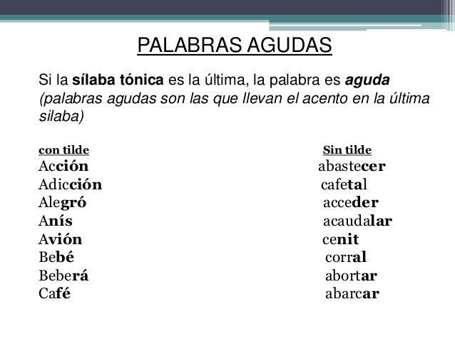 Palabras Agudas Con Tilde Y Sin Tilde 10 Ejemplos Compartir Ejemplos