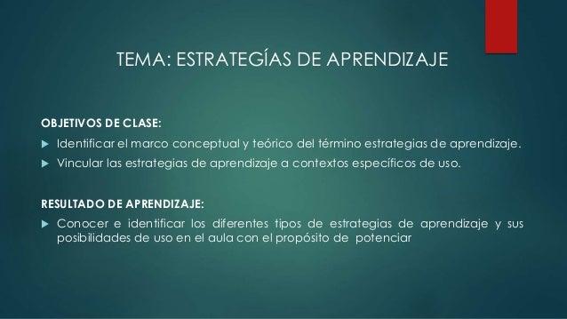 TEMA: ESTRATEGÍAS DE APRENDIZAJE OBJETIVOS DE CLASE:  Identificar el marco conceptual y teórico del término estrategias d...