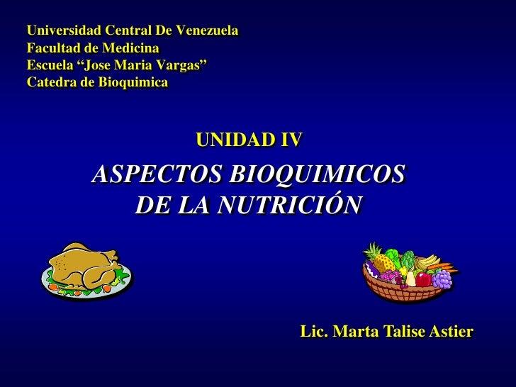 """Universidad Central De VenezuelaFacultad de MedicinaEscuela """"Jose Maria Vargas""""Catedra de Bioquimica                      ..."""