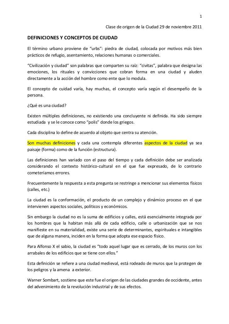 1                                          Clase de origen de la Ciudad 29 de noviembre 2011DEFINICIONES Y CONCEPTOS DE CI...
