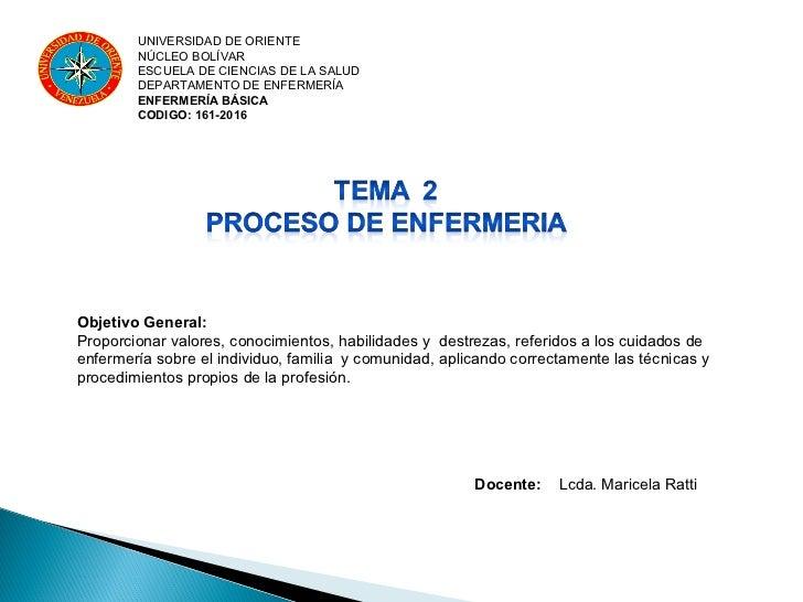 UNIVERSIDAD DE ORIENTE        NÚCLEO BOLÍVAR        ESCUELA DE CIENCIAS DE LA SALUD        DEPARTAMENTO DE ENFERMERÍA     ...
