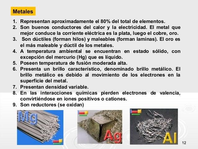 Metales 1. Representan aproximadamente el 80% del total de elementos. 2. Son buenos conductores del calor y la electricida...