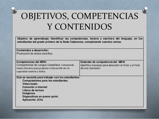 OBJETIVOS, COMPETENCIAS Y CONTENIDOS Objetivo de aprendizaje: Identificar las competencias, lectora y escritora del lengua...