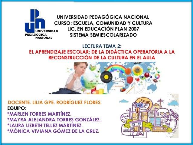 UNIVERSIDAD PEDAGÓGICA NACIONAL  CURSO: ESCUELA, COMUNIDAD Y CULTURA  LIC. EN EDUCACIÓN PLAN 2007  SISTEMA SEMIESCOLARIZAD...