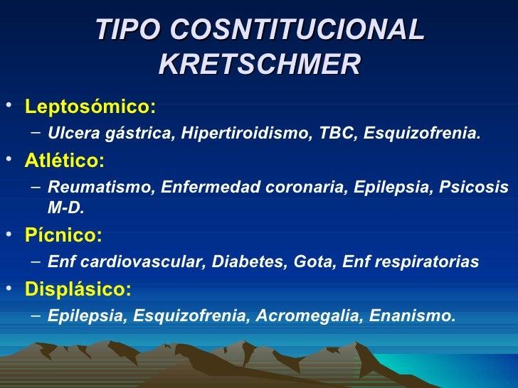 TIPO COSNTITUCIONAL KRETSCHMER <ul><li>Leptosómico: </li></ul><ul><ul><li>Ulcera gástrica, Hipertiroidismo, TBC, Esquizofr...
