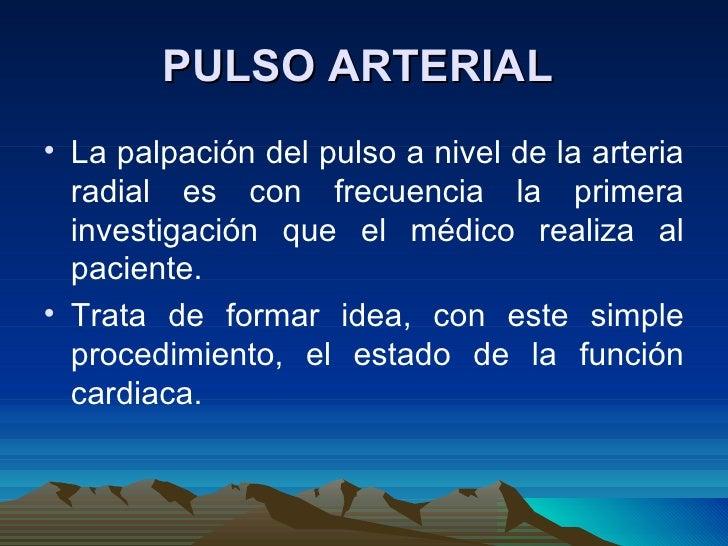 PULSO ARTERIAL  <ul><li>La palpación del pulso a nivel de la arteria radial es con frecuencia la primera investigación que...
