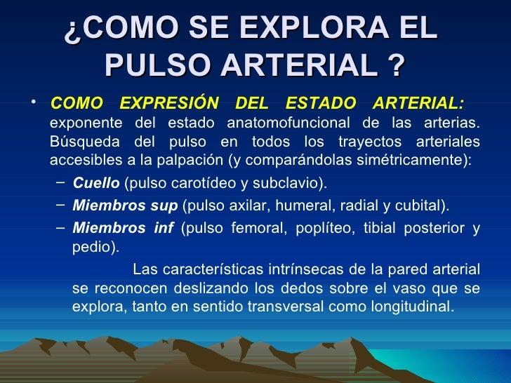 ¿COMO SE EXPLORA EL  PULSO ARTERIAL ? <ul><li>COMO EXPRESIÓN DEL ESTADO ARTERIAL:  exponente del estado anatomofuncional d...