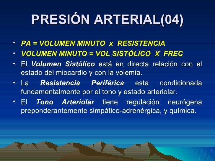 PRESIÓN ARTERIAL(04) <ul><li>PA = VOLUMEN MINUTO  x  RESISTENCIA </li></ul><ul><li>VOLUMEN MINUTO = VOL SISTÓLICO  X  FREC...