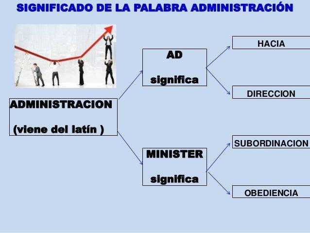 HACIA AD significa DIRECCION ADMINISTRACION (viene del latín ) SUBORDINACION MINISTER significa OBEDIENCIA SIGNIFICADO DE ...