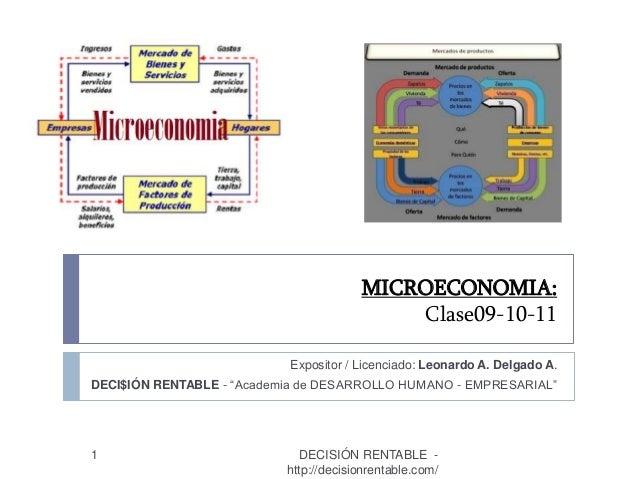 """MICROECONOMIA: Clase09-10-11 1 Expositor / Licenciado: Leonardo A. Delgado A. DECI$IÓN RENTABLE - """"Academia de DESARROLLO ..."""