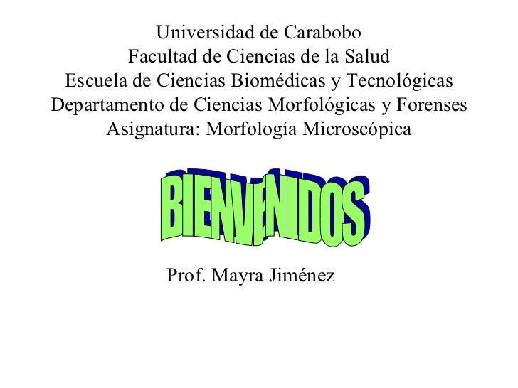 Universidad de Carabobo Facultad de Ciencias de la Salud Escuela de Ciencias Biomédicas y Tecnológicas Departamento de Cie...