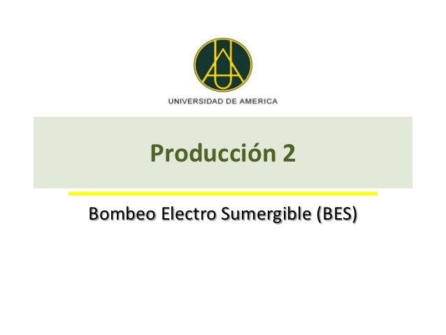 Producción 2Bombeo Electro Sumergible (BES)