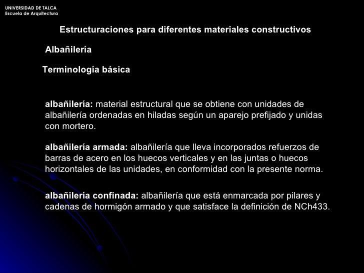 UNIVERSIDAD DE TALCA Escuela de Arquitectura Estructuraciones para diferentes materiales constructivos Terminología básica...