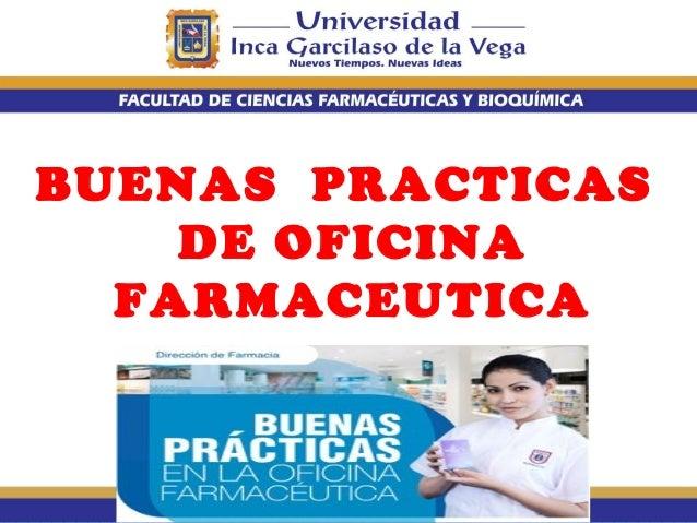Buenas practicas de oficina farmaceutica atencion for Practica de oficina definicion
