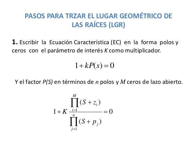 PASOS PARA TRZAR EL LUGAR GEOMÉTRICO DE LAS RAÍCES (LGR) 1. Escribir la Ecuación Característica (EC) en la forma polos y c...