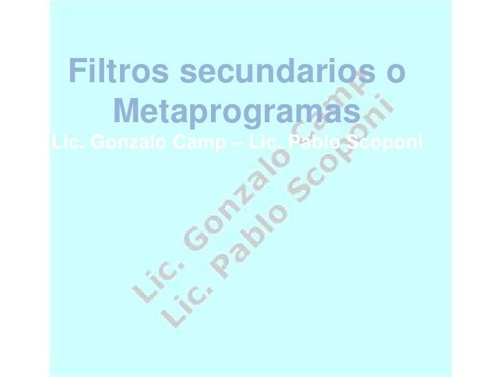 Filtros secundarios o Metaprogramas<br />Lic. Gonzalo Camp – Lic. Pablo Scoponi<br />