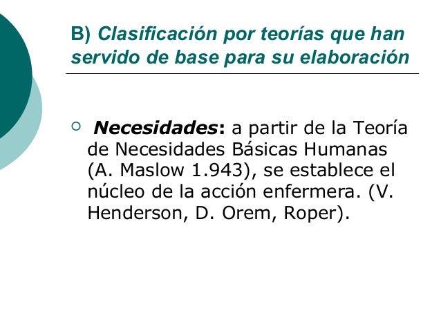 B) Clasificación por teorías que hanservido de base para su elaboración    Necesidades: a partir de la Teoría    de Neces...