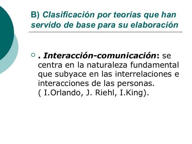 B) Clasificación por teorías que hanservido de base para su elaboración   . Interacción-comunicación: se    centra en la ...