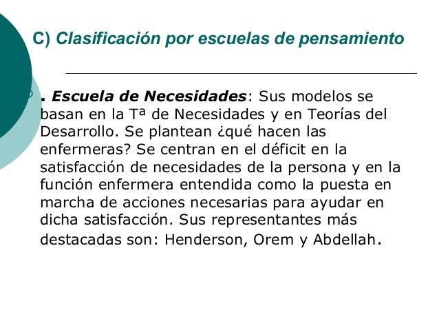 C) Clasificación por escuelas de pensamiento   . Escuela de Necesidades: Sus modelos se    basan en la Tª de Necesidades ...