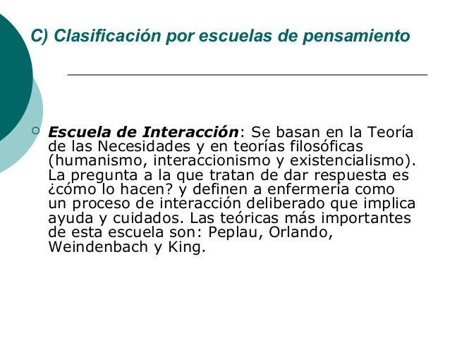 C) Clasificación por escuelas de pensamiento   Escuela de Interacción: Se basan en la Teoría    de las Necesidades y en t...