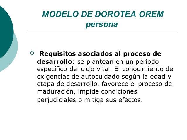 MODELO DE DOROTEA OREM             persona    Requisitos asociados al proceso de    desarrollo: se plantean en un período...