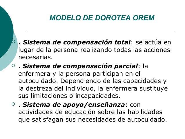MODELO DE DOROTEA OREM   . Sistema de compensación total: se actúa en    lugar de la persona realizando todas las accione...