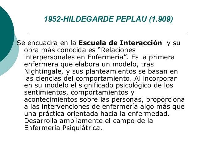"""1952-HILDEGARDE PEPLAU (1.909)Se encuadra en la Escuela de Interacción y su  obra más conocida es """"Relaciones  interperson..."""